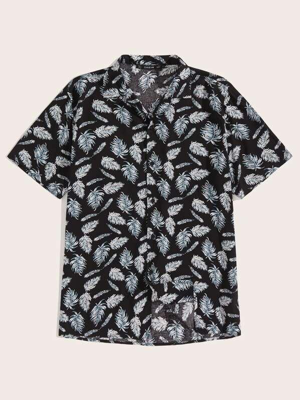 Men Revere Collar Jungle Leaf Print Shirt