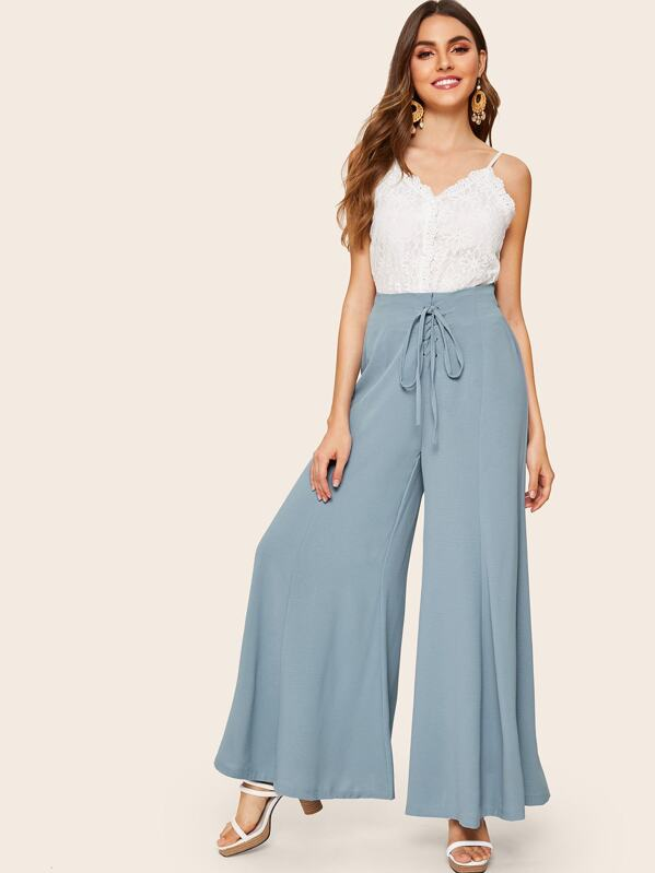 Solid Gommet Lace Up Wide Leg Pants, Barbara C