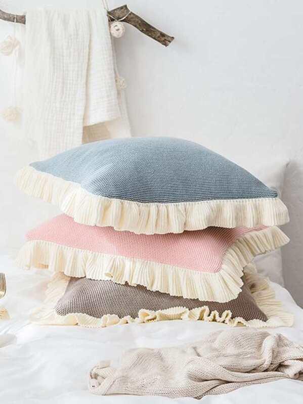 Ruffle Trim Cushion Cover 1pc, null