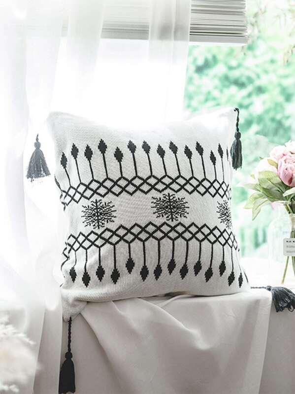 Tassel Detail Cushion Cover 1pc, null