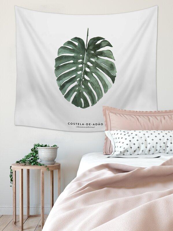 Turtle Leaf Print Tapestry, null