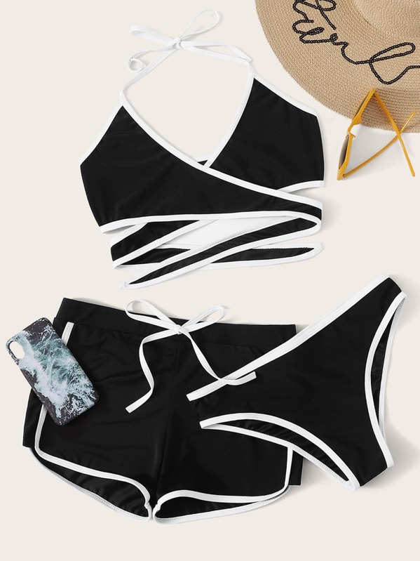 Contrast Piping Wrap Halter Bikini Set With Shorts 3pack, null