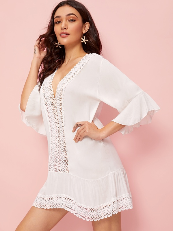 Bell Sleeve Guipure Lace Trim Cover Up, White, Roberta B