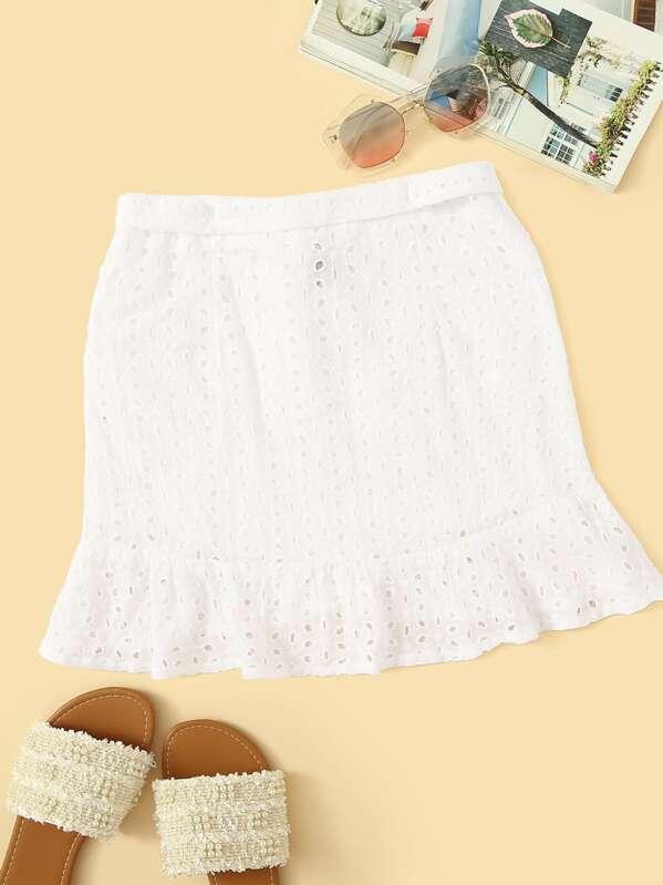 Knot Front Ruffle Trim Wrap Schiffy Skirt, White