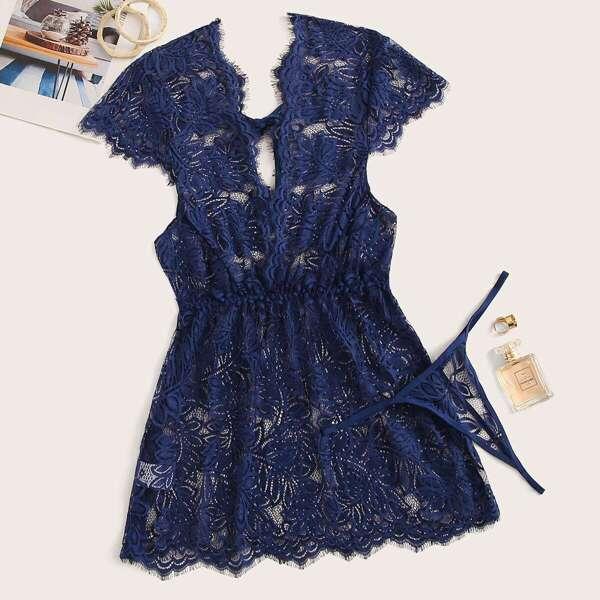 Eyelash Lace Plunging Dress With Thong, Blue