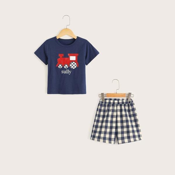 Toddler Boys Car Print Plaid Pajama Set