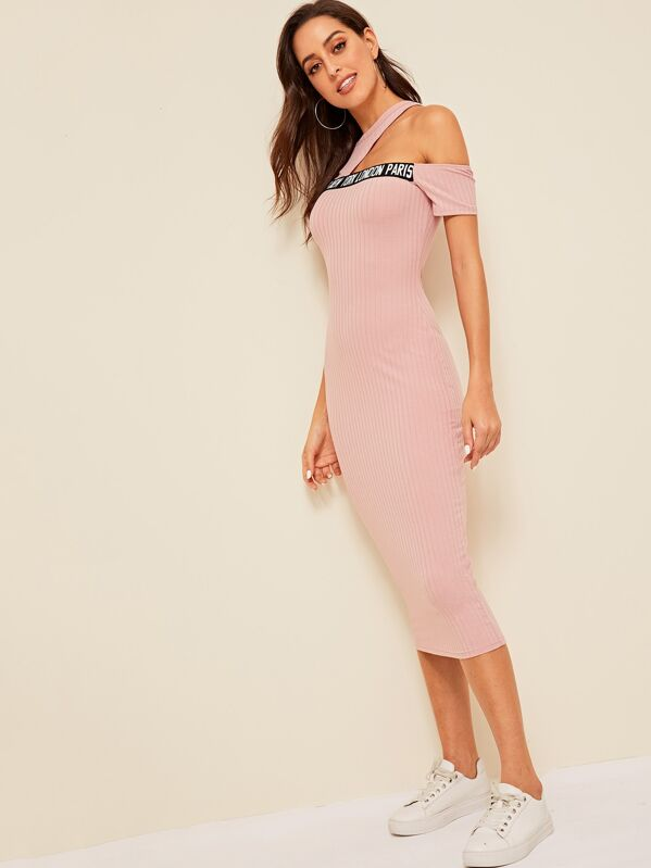 Cut Out Shoulder Letter Rib-knit Pencil Dress, Mary P.