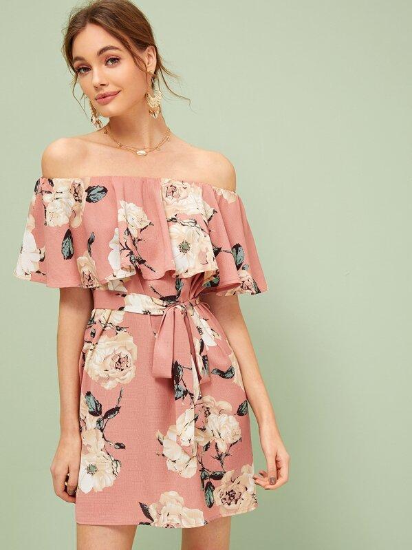 Floral Print Ruffle Trim Belted Bardot Dress, Kristina B
