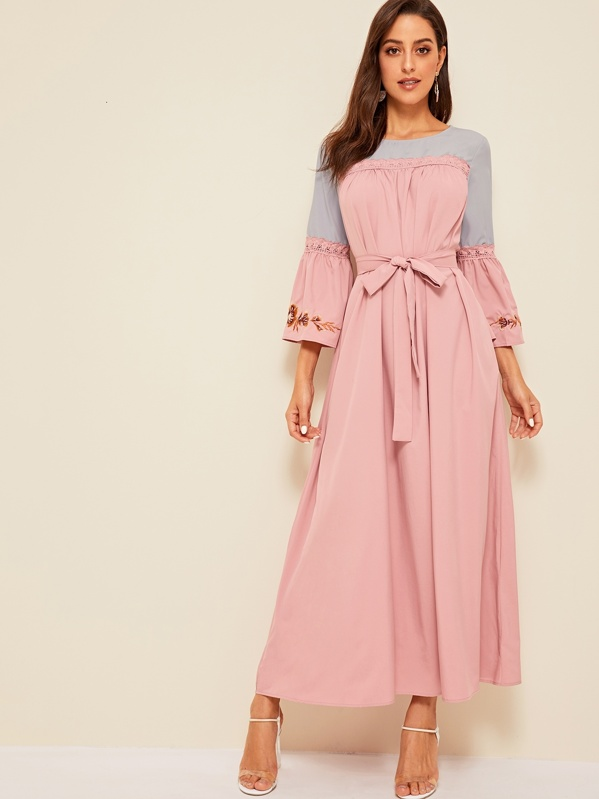 Floral Bell Sleeve Lace Insert Belted Dress, Mary P.