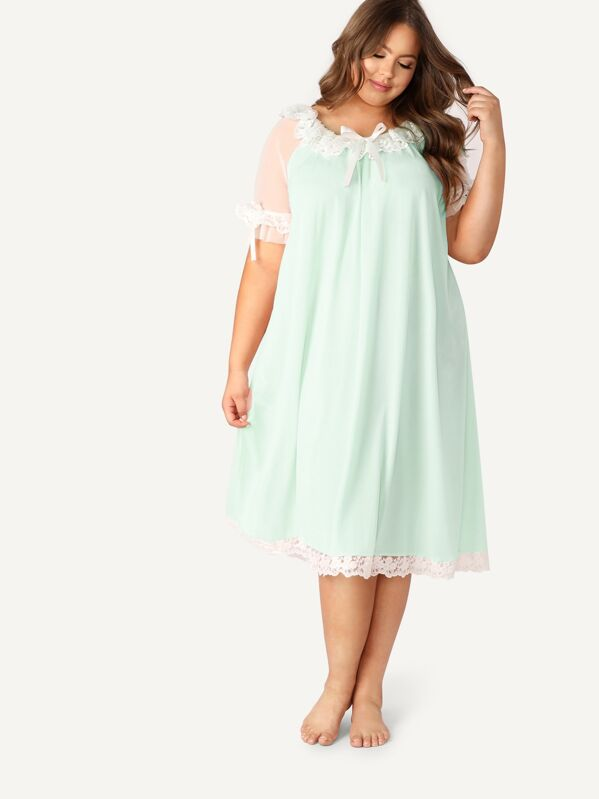 Plus Bow Tie Neck Embroidered Mesh Ruffle Nightdress, Green, Bailey Carr