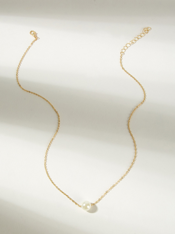 Girls Faux Pearl Pendant Necklace 1pc, null
