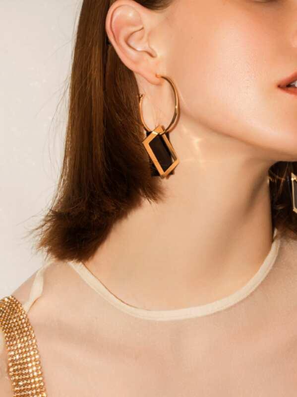 Rectangle Decor Cut Hoop Drop Earrings 1pair, null