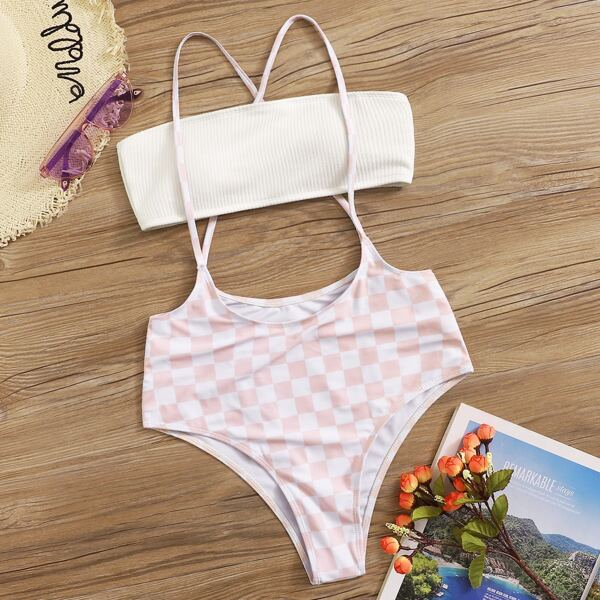Bandeau With Gingham Suspender Two Piece Swim
