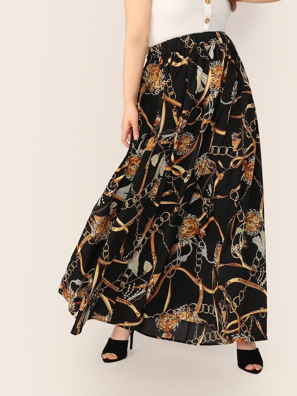 Plus High Waist Chain Print Skirt, Faith Bowman