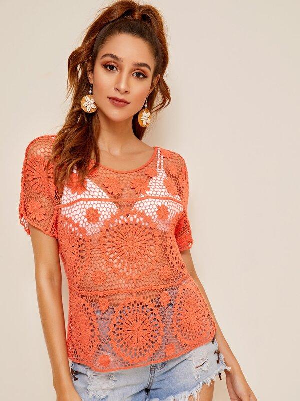 Crochet Guipure Lace Top Without Bra, Gabi B