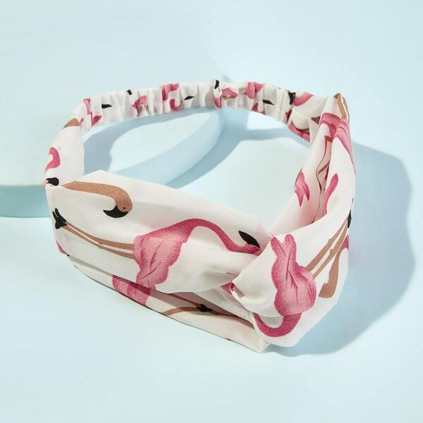 Flamingo Print Twist Headband, Multicolor