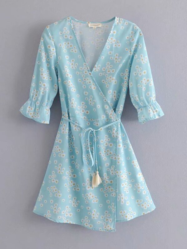 Daisy Floral Belted Wrap Dress, null