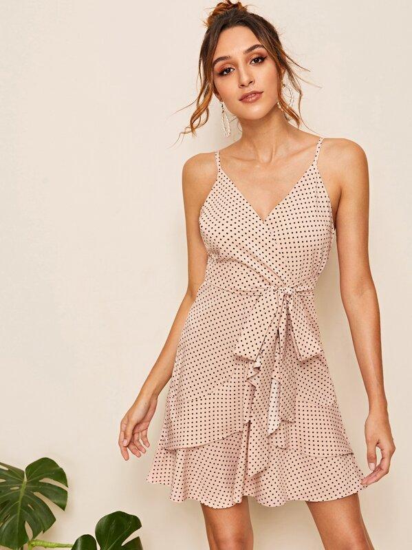 Polka Dot Print Belted Cami Dress, Gabi B