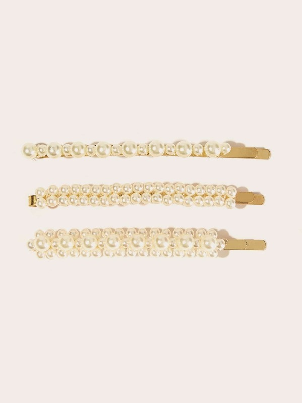 Faux Pearl Decor Hairpin 3pcs, null