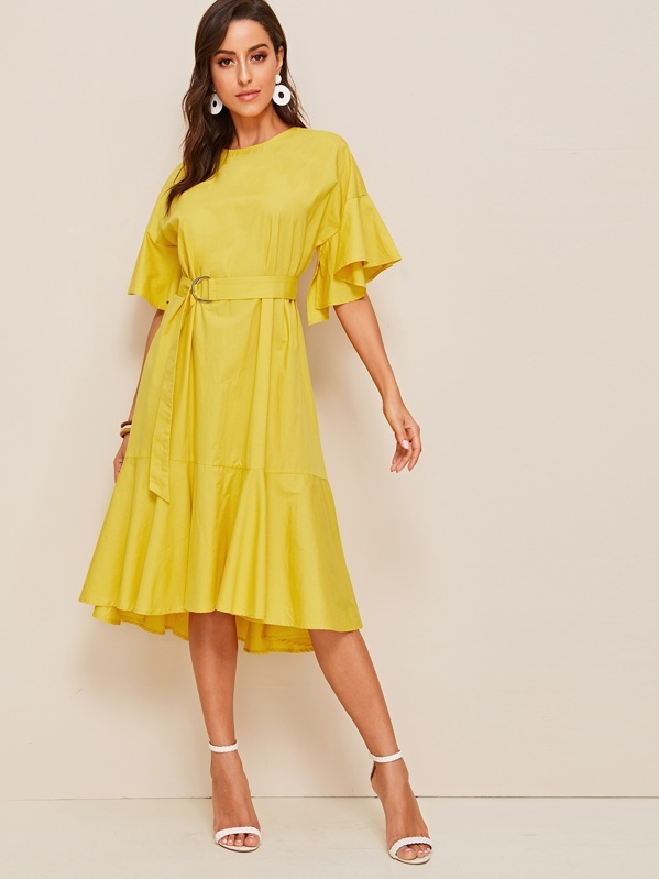 Bell Sleeve Flounce Hem Belted Dress, Mary P.