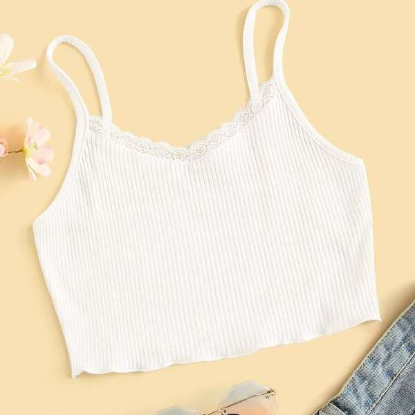 Plus Contrast Lace Ribbed Cami Top