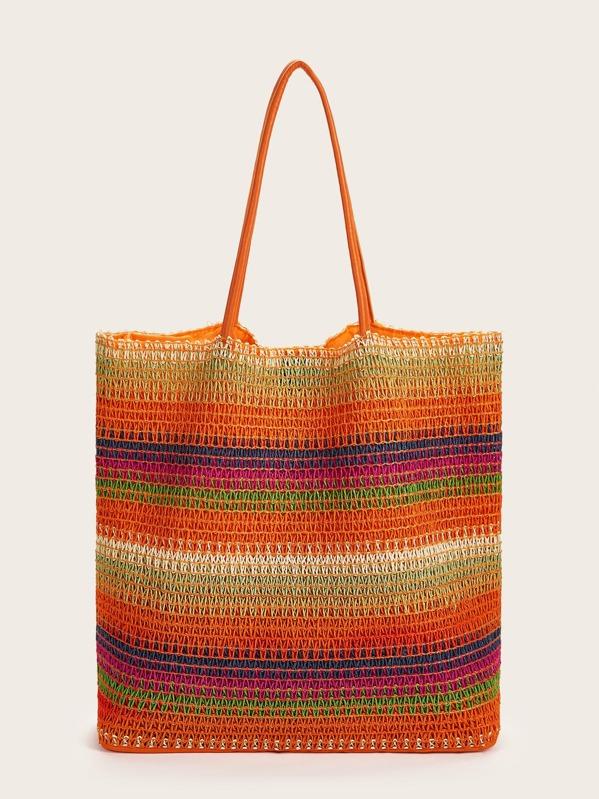 Rainbow Design Plaited Tote Bag, null