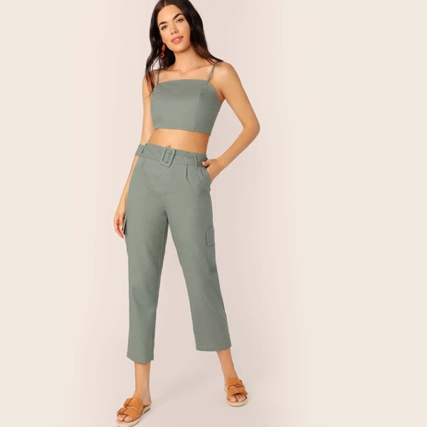Crop Cami Top and Buckle Belted Pocket Side Pants Set