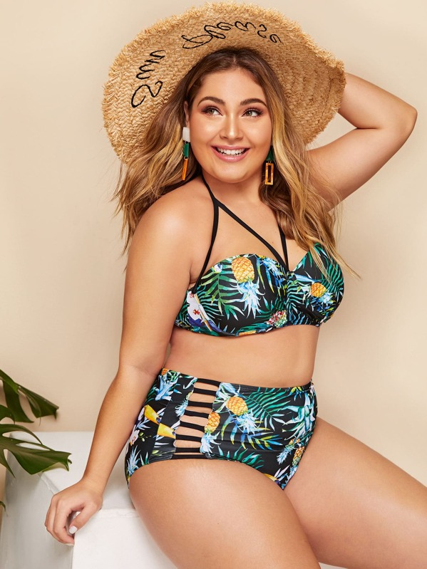 Plus Tropical Halter Top With Ladder Cut-out Bikini, Carol