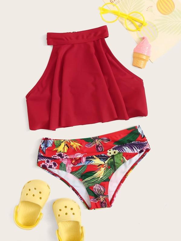 Girls Floaty Top With Random Tropical Print Bikini, null