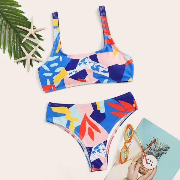 Random Graphic Print Scoop Neck Bikini Set, Multicolor