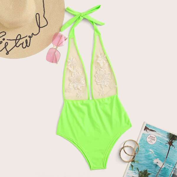 Neon Green Mesh Embroidered One Piece Swimsuit