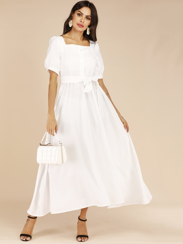 Square Neck Belted Bishop Sleeve Maxi Dress