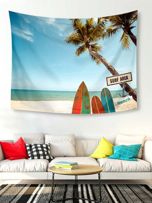 Beach Scenery Print Tapestry, null
