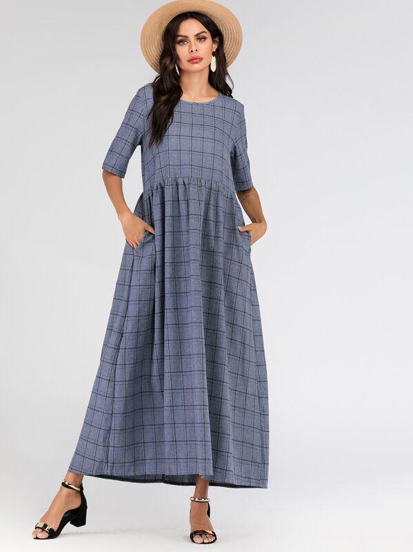 Glen Plaid Hidden Pocket Maxi Dress, null