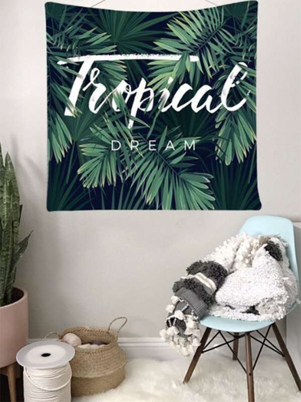 Tropical Leaf Print Tapestry, null