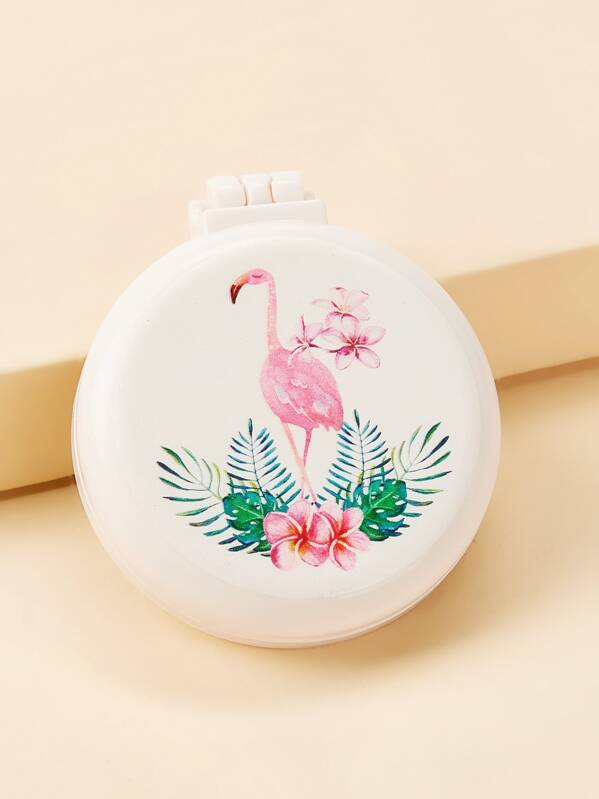 Flamingos Pattern Mirror With Comb, null