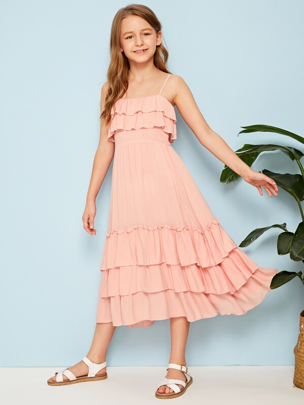 Girls Layered Ruffle Hem Shirred Cami Dress, Pink, Sashab