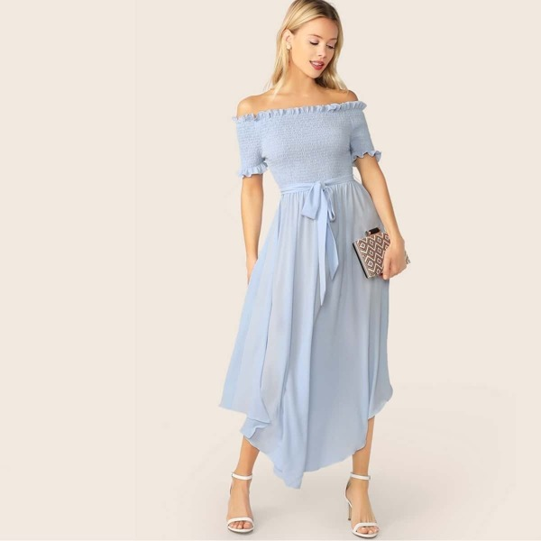 Off Shoulder Frill Trim Shirred Flowy Dress With Belt, Blue