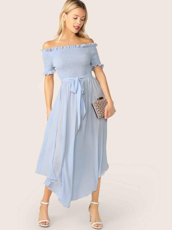Off Shoulder Frill Trim Shirred Flowy Dress With Belt, Blue, Allie Leggett