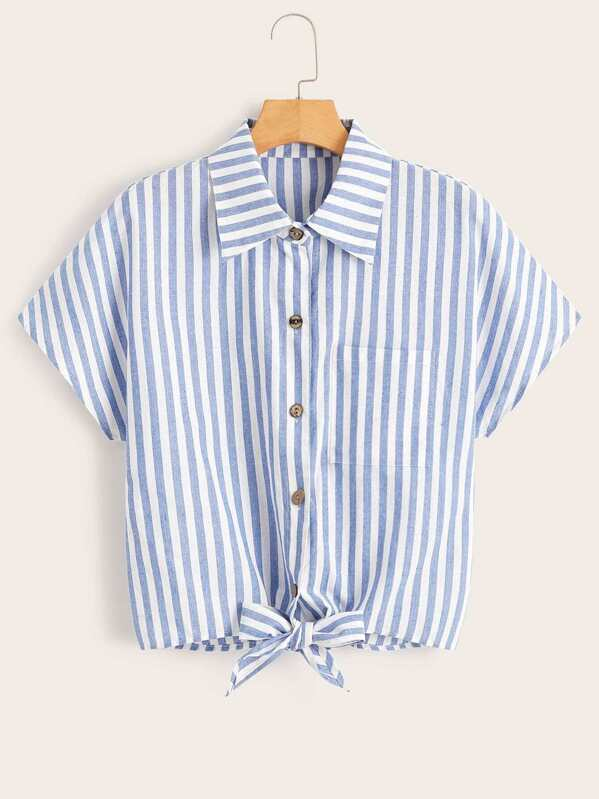 Knot Hem Button Through Striped Boxy Blouse, null