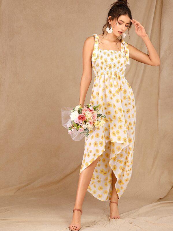 Floral Print Shirred Dip Hem Knot Dress, MARTINA