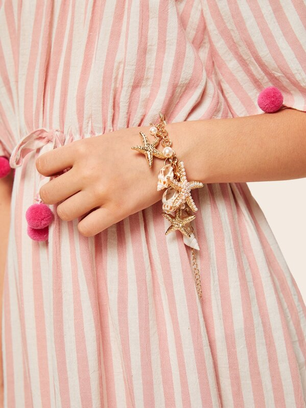 Kids Faux Pearl Detail Starfish Charm Bracelet 1pc, null
