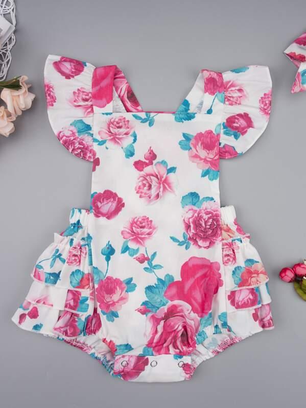 Baby Girl Super Floral Ruffle Trim Romper & Headband, Multicolor