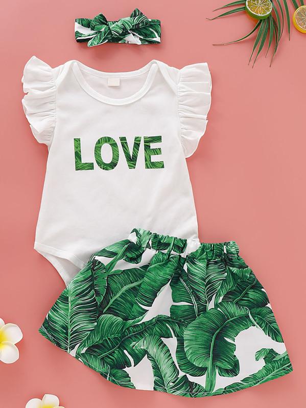 Baby Girl Letter Print Romper & Tropical Print Skirt & Headband, null