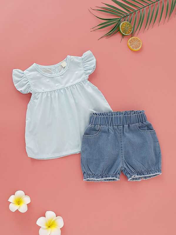 Baby Girl Babydoll Top With Denim Shorts, null