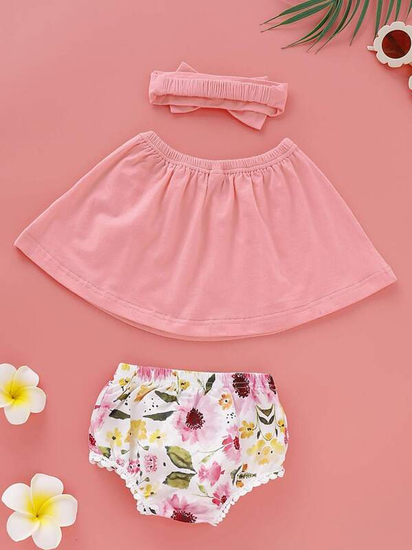 Baby Girl Solid Bandeau & Floral Print Shorts & Headband, null