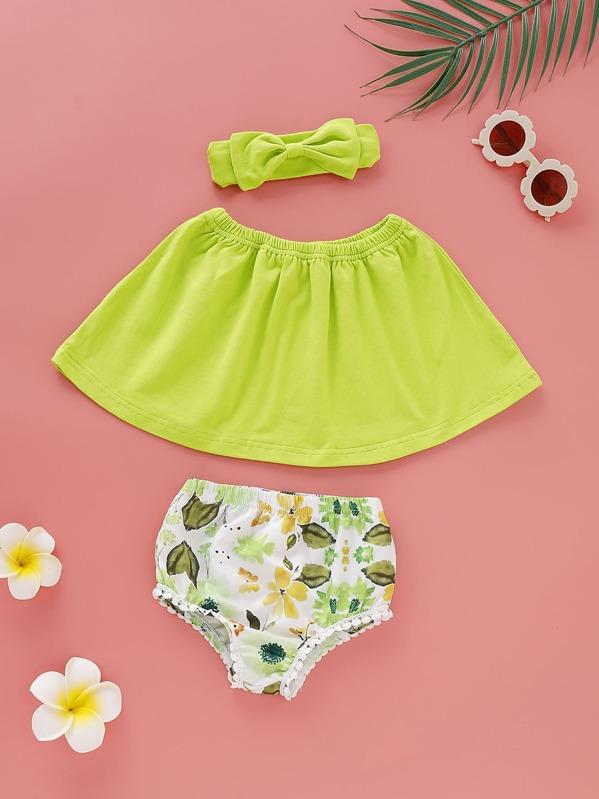 Baby Girl Neon Green Bandeau & Floral Print Shorts & Headband, null