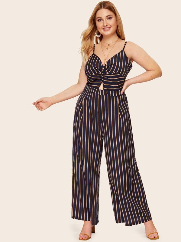 Plus Striped Twist Front Peekaboo Cami Jumpsuit, Nora