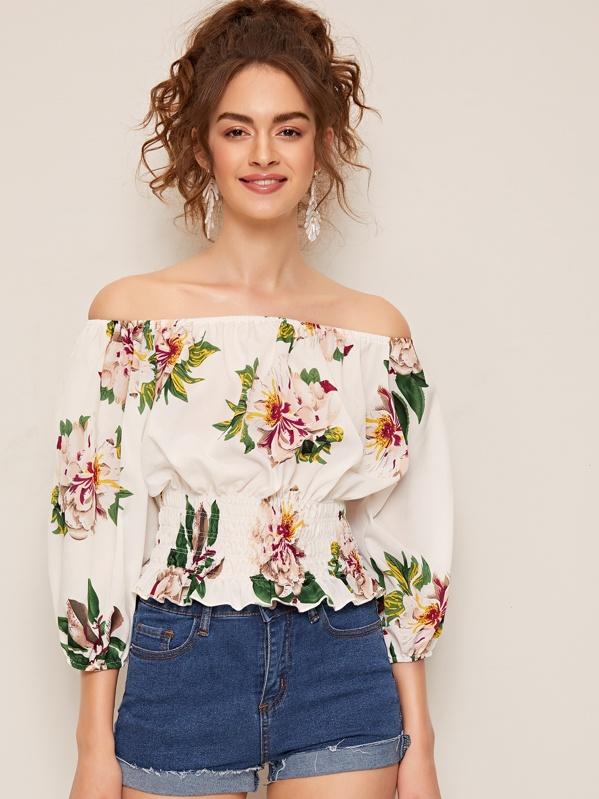 Off Shoulder Floral Print Shirred Top, Anka