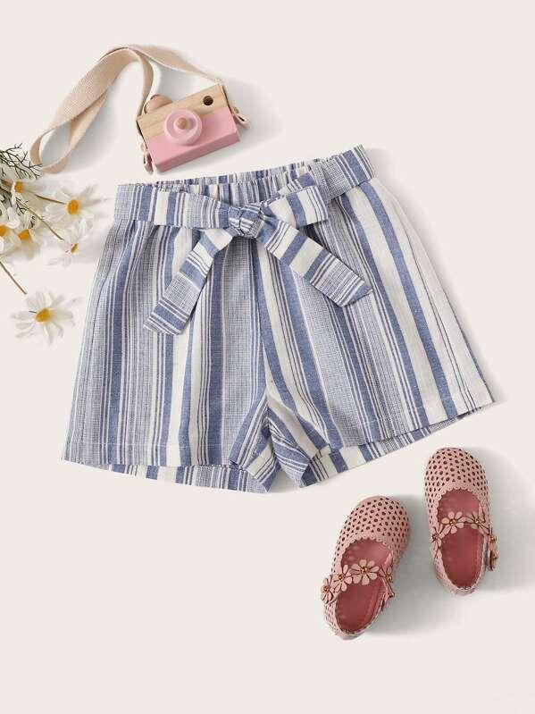 Girls Bow Tie Waist Striped Shorts, Blue